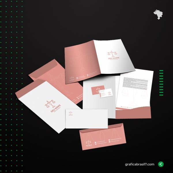 Kit Escritório Papelaria Personalizada Completa com 100un.