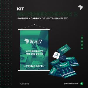 Kit Empreendedor 2 1000 cartão de visitas simples + 2500 panfletos só frente 10x14cm + Banner 60x90cm K-EMP2