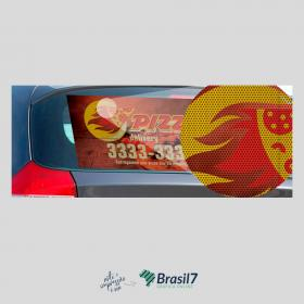 Adesivo para Vidro Traseiro em Vinil Perfurado Vinil Perfurado 150g 40x80 cm 4x0 impressão colorido Sem Cobertura Corte Reto