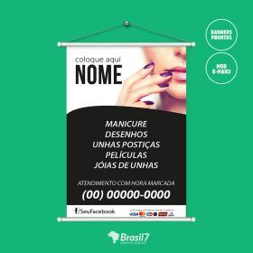 Banner para Manicure - Arte Pronta B-MAN2 Lona Brilho 340g 70x100 cm 4x0 - Colorido Frente