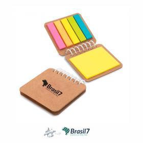 Bloco de notas adesivas capa kraft com 6 conjuntos Cor Natural  Impressao colorida Sem cobertura Personalização frente do bloco