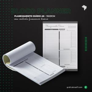 Bloco Planner Diário 15x21 cm (Sem personalização) Sulfite 75g 15x21 cm 1x0 Preto e Branco só frente Sem verniz 100 Folhas cada Bloco Blocagem