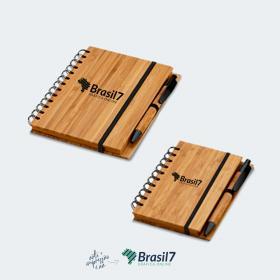 Caderno com caneta de Bambu Cor do Caderno: Natural A6 - 10x14 cm Gravação a laser Sem cobertura Impressão apenas na capa