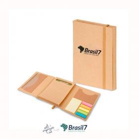 Caderno com notas adesivas e caneta  A5 21x14 cm  Sem cobertura Impressão apenas na capa