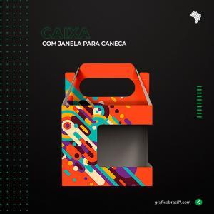 Caixa com Janela para Caneca Couche 250g 11x10cm