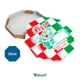 Caixa de Pizza Oitavada Padrão Papelão 340g 25x25cm  Sem verniz Corte e vinco para encaixe