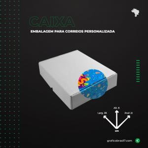 Caixa para Correios 26x6x21 cm inteira personalizada Papelão Onda E (Branco) L 26 x A 6 x  P 21 4x0 impressão colorida externa Sem Verniz  Suporta até 5kg