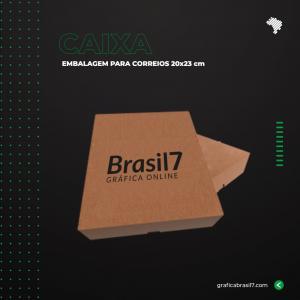 Caixa para Correios 20x23 cm logo Personalizada Preto e Vermelho Papelão 340g 20,8x23,8 4x0 Sem Verniz