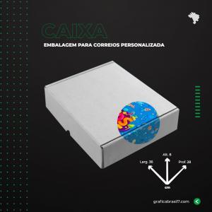 Caixa para Correios 36x8x28 cm inteira personalizada Papelão Onda E (Branco) L 36 x A 8 x  P 28 4x0 impressão colorida externa Sem Verniz  Suporta até 5kg