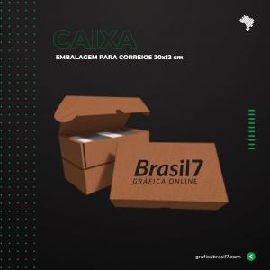 Caixa para Correios 20x12 cm logo Personalizada Preto e Vermelho Papelão 340g 20,1x12,8 cm 4x0 Sem Verniz