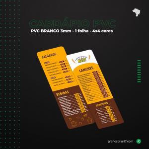 Cardápio em PVC 10x29,7cm PVC Branco 3mm 10x29,7cm 4x4 Impressão frente e verso 1 Folha 4 cantos arredondados