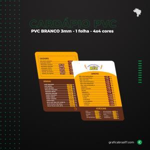 Cardápio em PVC 21x29,7cm PVC Branco 3mm 21x29,7cm 4x4 Impressão frente e verso 1 Folha 4 cantos arredondados