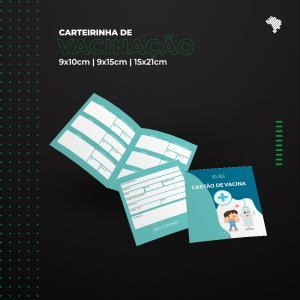 Cartão Carteirinha de Vacinação Personalizada 18x10 cm Apergaminhado 240g 18x10 cm (aberto) 9x10cm (Fechado) 4x4 colorido frente e verso sem verniz 1 Vinco Central