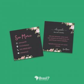 Cartão de Agradecimento ao cliente Mod CA-1 Couche 250g 9x10 cm 4x4 impressão colorida frente e verso Verniz total frente Corte Reto