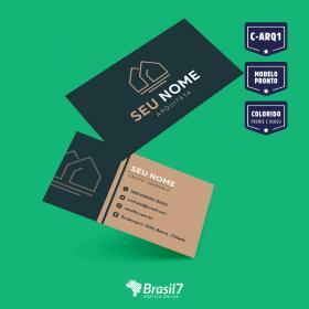 Cartão de visita Arquiteto Modelo c-ARQ1 Couche 250 g 9x5 4x4 impressão frente e verso Verniz Total Frente Corte reto