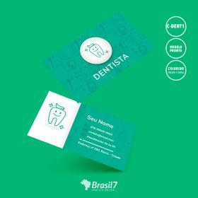 Cartão de visita Dentista - Modelo C-DENT1 Couche 250g 9x5 cm 4x4 impressão colorida frente e verso Verniz Total Frente Corte reto