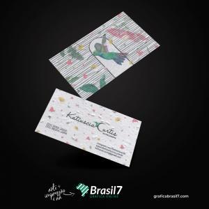 Cartão de Visita Ecológico Papel Semente 230g 9x5 cm 4x4 impressão colorida frente e verso