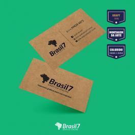 Cartão de visita Kraft Kraft 300g 9x5 cm 4x4 impressão frente e verso Sem Verniz Corte Reto