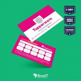 Cartão de visita Modelo tupperware - Modelo C-TUP1 Couche 250g 9x5 cm 4x4 impressão colorida frente e verso Verniz Total Frente Corte reto