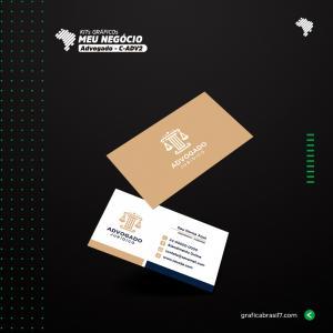 Cartão de visita para Advogado | C-ADV2 Couche 300g 9x5 cm 4x4 impressão frente e verso Laminação Fosca + Verniz Localizado Corte Reto