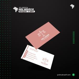 Cartão de visita para Advogado | C-ADV3 Couche 300g 9x5 cm 4x4 impressão frente e verso Laminação Fosca + Verniz Localizado Corte Reto