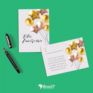 Cartão Postal em Papel Couche Couche 250g 10x15 cm 4x4 impressão colorida frente e verso Verniz total frente Corte Reto