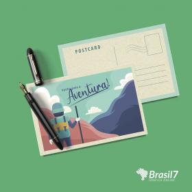 Cartão Postal em papel Reciclado Reciclato 240g 10x15 cm 4x4 impressão colorida frente e verso sem verniz Corte Reto