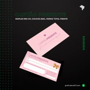 Cartão Presente Simples 9x5cm Couche 250 g 9x5 cm 4x4 impressão frente e verso Verniz Total Frente Corte reto