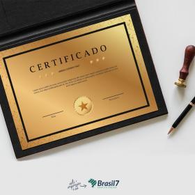 Certificado em Papel Aurum Papel Aurum 300g 21x29 cm 4x0 Impressão frente colorida sem coberturas