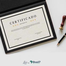 Certificado em Papel Perolizado Papel Perolizado 250g 21x29 cm 4x0 Impressão frente colorida sem coberturas