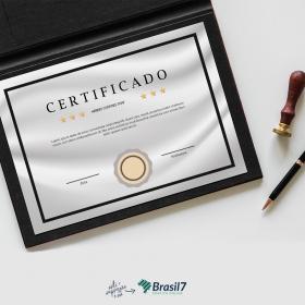 Certificado em Papel Platinum Papel Platinum 300g 21x29 cm 4x0 Impressão frente colorida sem coberturas