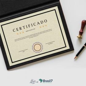 Certificado em Papel Reciclato Papel Reciclato 240g 21x29 cm 4x0 Impressão frente colorida sem coberturas