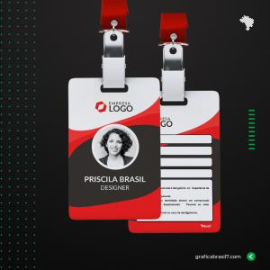 Crachá em PVC CRISTAL personalizado - COM DADOS VARIÁVEIS PVC 0,76mm 8,5X5,4 cm 4x4 impressão frente e verso CRISTAL (brilho) Cantos Arredondados + Furo para presilha