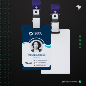 Crachá em PVC FOSCO personalizado - COM DADOS VARIÁVEIS PVC 0,76mm 8,5X5,4 cm 4x0 impressão só frente FOSCO Cantos Arredondados + Furo para presilha
