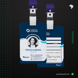 Crachá em PVC FOSCO personalizado - COM DADOS VARIÁVEIS PVC 0,76mm 8,5X5,4 cm 4x4 impressão frente e verso FOSCO Cantos Arredondados + Furo para presilha