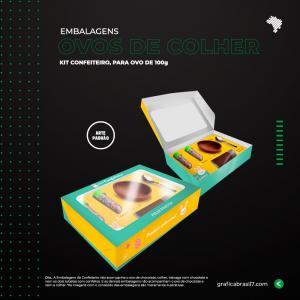 Embalagem Kit Confeiteiro de ovos de colher Cartão Triplex Certificado 300g  4x0  Faca Padrão