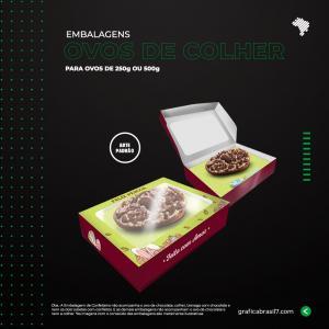 Embalagem para Ovos de Colher Cartão Triplex Certificado 300g  4x0  Faca Padrão