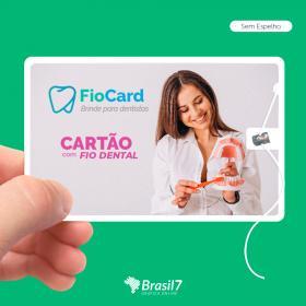 FioCard - Cartão com fio dental | Cartão para Odontologia Plástico 85x53cm 4x0 Impressão frente colorida  com ou sem espelho 10m de fio