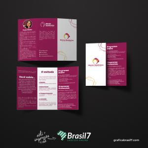 Folder com 2 dobras em couche 90g Couche 90g 21x29,7 (A4) 4x4 colorido frente e verso Sem verniz dobras
