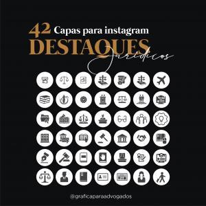 Kit Capa para Instagram Advogado com 42 Destaques Jurídicos Digital