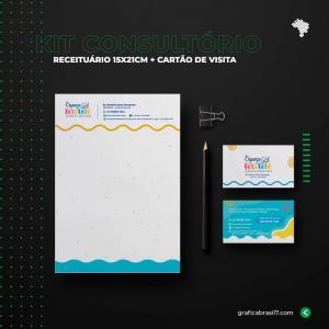 Kit Consultório 1 - Receituário 15x21 cm + cartão de visitas simples