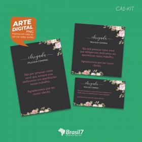 Kit Digital de Cartão de Agradecimento CA1-KIT Digital 3 artes tamanhos variados