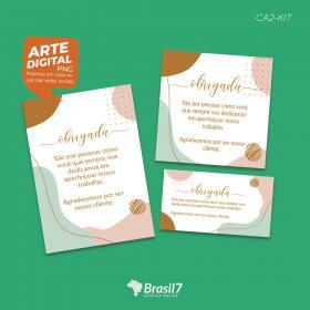 Kit Digital de Cartão de Agradecimento CA2-KIT Digital 3 artes tamanhos variados