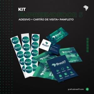 Kit Empreendedor 5 1000 Cartão de visita simples + 2500 Panfletos 10x14cm + 1000 adesivos vinil 4x4cm K-EMP5