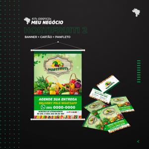 Kit Hortifruti 2 1000 cartão de visitas simples + 2500 panfletos só frente 10x14cm + Banner 60x90cm K-HORT2