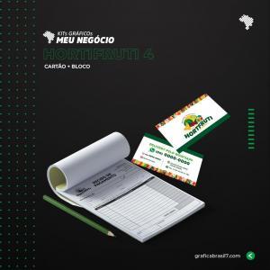 Kit Hortifruti 4 Bloco Talão 15x21 cm + cartão de visitas simples K-HORT4