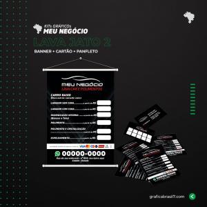 Kit Lava Jato 2 1000 cartão de visitas simples + 2500 panfletos só frente 10x14cm + Banner 60x90cm K-LAVJ2