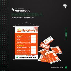 Kit Marmitaria 2 1000 cartão de visitas simples + 2500 panfletos só frente 10x14cm + Banner 60x90cm K-MARM2