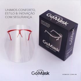 Máscara protetora Facial PVC - Estilo Fashion Modelo  GoMask I PVC rígido 24x24,5 cm
