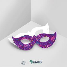 Máscaras em papel personalizada Couche Brilho 250g 7,5x19 cm  Verniz total frente Faca Padrão e Elástico